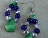 Handmade Beaded jewelry earrings green and blue silver tone pierced dangle