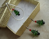 Handmade Beaded Christmas Jewelry Set Swarovski  Christmas Tree Necklace Earrings