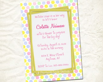 pink lemonade dots baby shower invitation print yourself file