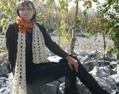 Crochet Super Soft Gold And Off White Long Fall Winter Scarf