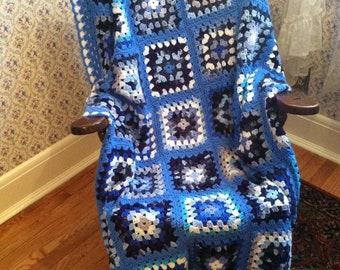 Traditional Granny Square Afghan in Ocean Colors
