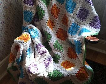 SALE 4-Patch Crochet Granny Square Afghan in Orange Blue Green & Purple