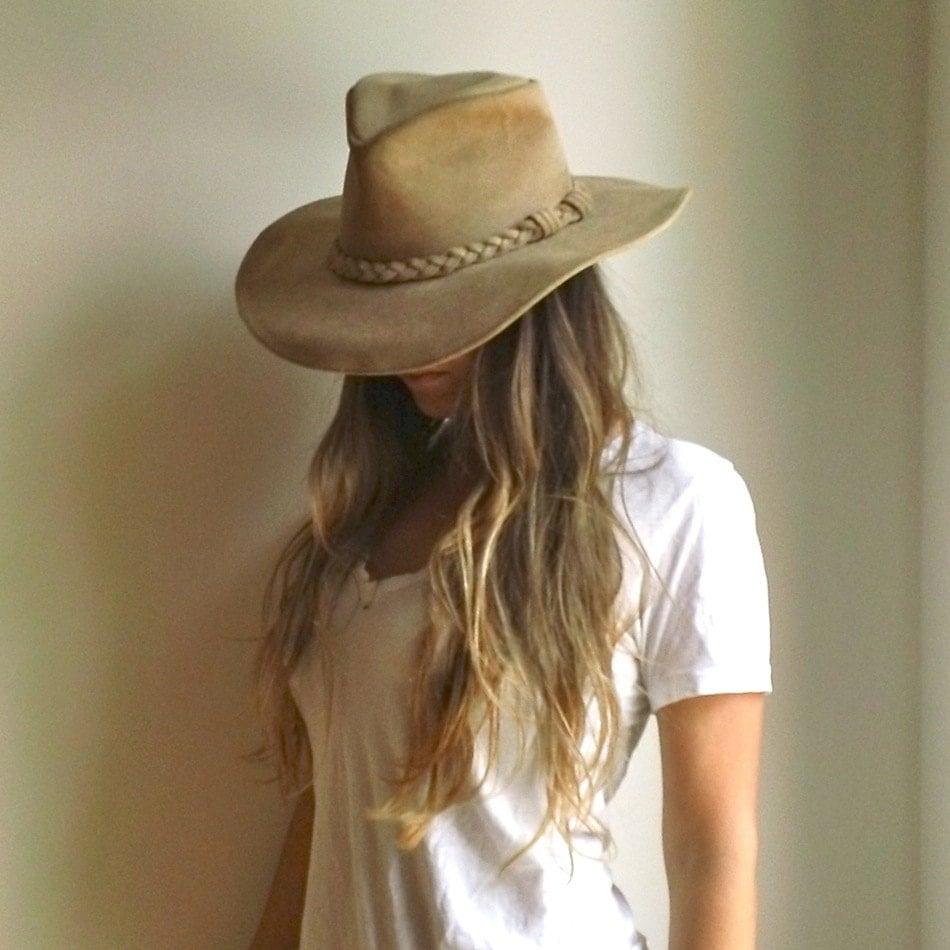 Minnetonka Leather Hat Bohemian Wide Brim Tan By Jacknboots