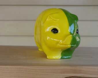 Ceramic Green and Yellow Piggy Bank