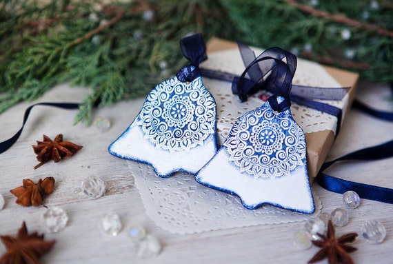 Christmas Gift set of 2 decoration Bells ornaments in white and navy blue lace texture with navy thread Holiday decor tree
