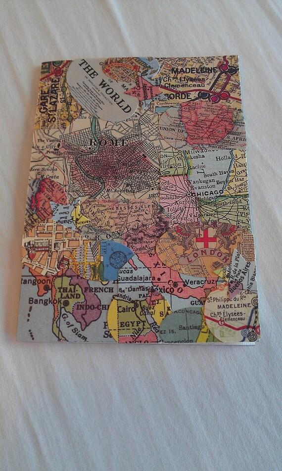 Vintage Travel Map 3 Passport Cover