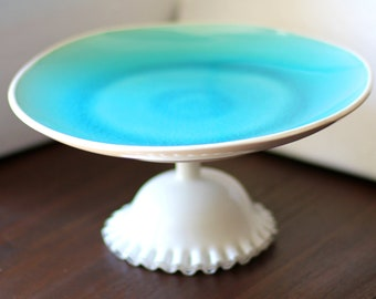 Beach Weddings Aqua Blue Cake Stand / Cupcake Stand / Dessert Pedestal / Ocean Beach Themed Seaside Weddings Nautical Weddings / Beach Decor