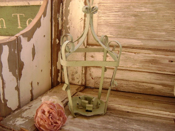 Chippy, Vintage, Cottage Chic Hanging lamp or Candle Fixture - Wrought Iron