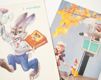 Vintage back to school postcards, set 2 postcards first day school in Russian, Rabbit Schoolgirl Pinocchio elementary school greeting cards