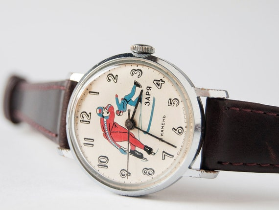 Mechanical wrist watch, sport, speed skating, silver, brown tones, USSR