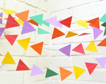 The Geo Garland, Paper Garland, Triangle Garland, Purple, Green, Yellow, Red, Orange, Birthday Decoration, Wedding Garland
