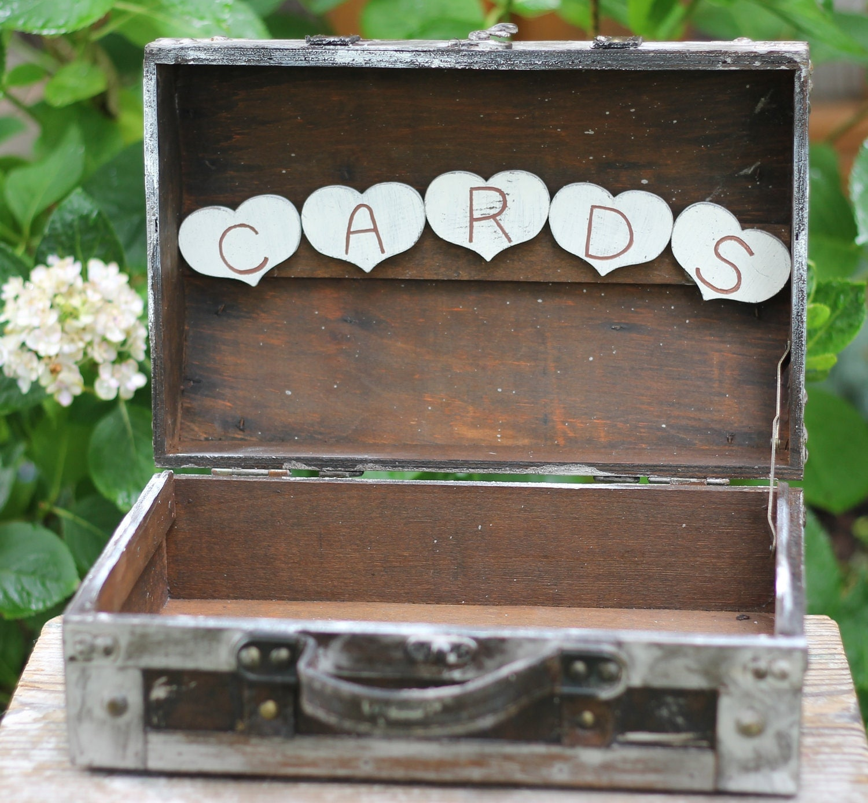 Card Holder Country Wedding Ideas: Wedding Card Box Rustic Suitcase Program Holder Shabby Chic