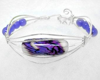 Bangle Bracelet, Silver Wire wrapped,Purple  Lampwork and Lavender Jade Bracelet, valentine gift 4 her