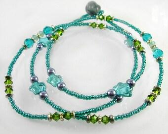 Swarovski, Czech Glass, Silver triple wrap Bracelet or Necklace
