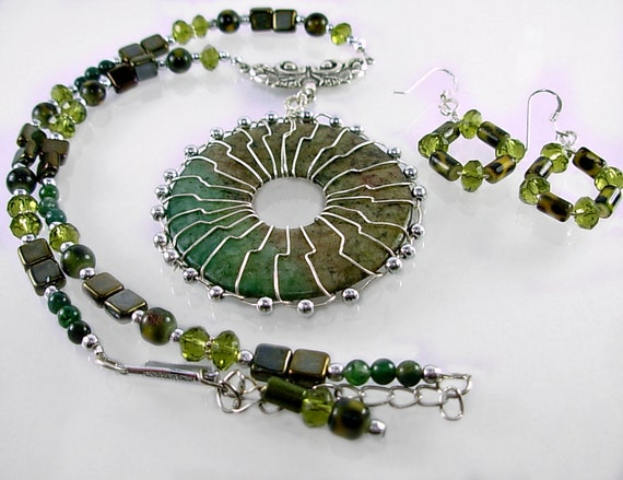 Silver & Green Jasper Choker Set, Autumn/Fall colors, Olive, Bronze Czech Glass