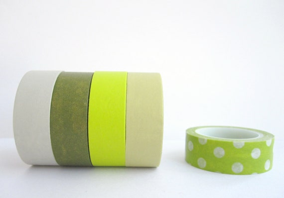 Washi Tape Set of 5  : Olive and Lime