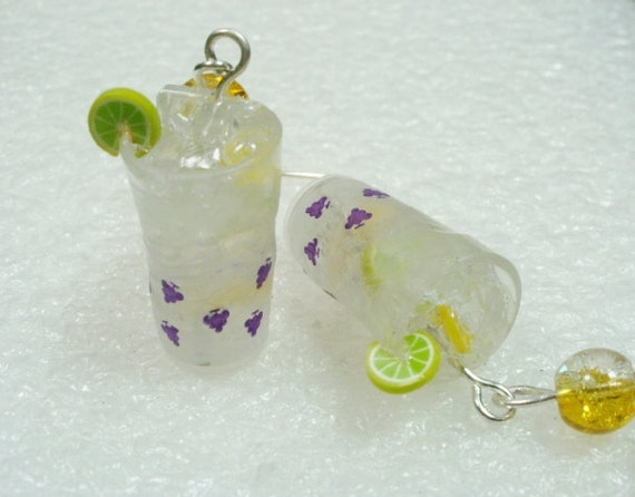 Glass Of Lemonade Earrings.
