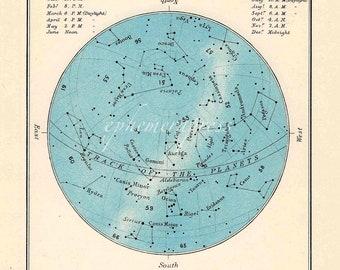 december celestial glorious vintage map print