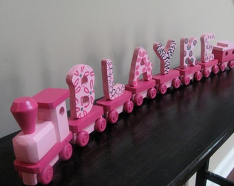 Handmade Wooden Toy Name Train-6 letters