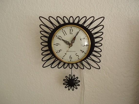 Mid Century Wall Clock with Pendulum
