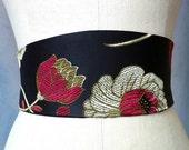 Black silk satin Obi belt sash arts and crafts engagement bridal red gold floral