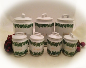 14 Piece Vintage CANISTER SET - Green & White IVY Transferware Pattern - Germany 1930s