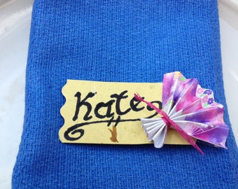 Individual Origami Fan Placecards