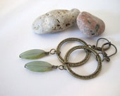 Oval Spindle Bead Earrings with Antique Brass Ring