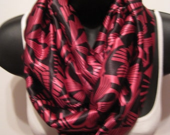 New Retro Flower Print Design Infinity Scarf. Bright Pink and Black
