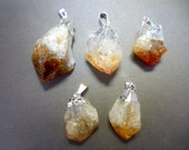 Citrine Point Pendant Raw Citrine electroplated Silver (S122B4)