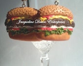 """Large Burger with Cheese / Deluxe Cheeseburger"""""""" Drop Earrings - Free Shipping USA :-)"""