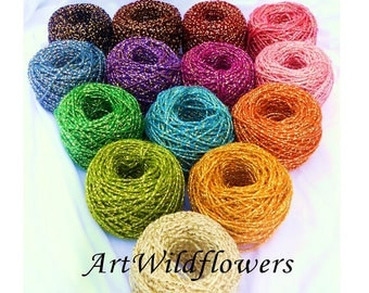 Metallic Cord- 15 colors of Hand Dyed Metallic Yarn Cording - for Hair Bow Embellishment, Gift Wrapping, Felting Supplies & Corsage Ribbon