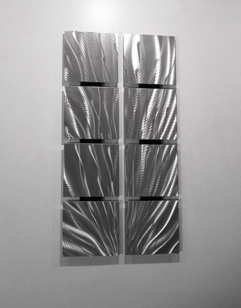 Metal Wall Decor Etsy : Silver wall art metal sculpture panels