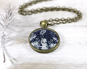 Girl with Balloon Necklace, Pendant, White and Navy Blue, Snow, Woodland (0-46N) Free shipping - CutTheFish