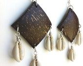 COCO COWRIE - Coconut Shel, Cowrie Shelll & Silver Earrings
