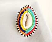 MAASAI SHINY SHIELD 2  - Fine Silver Plated Cowrie Shell Wrapped Ring
