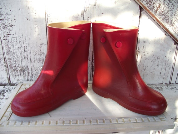 Vintage Red Childs Rubber Galoshes rain boots wellies slip