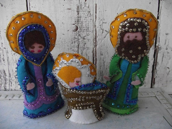 Vintage nativity creche mary joseph baby by for Baby jesus christmas decoration