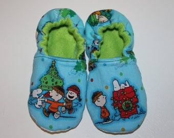 Childrens Christmas Slippers, Charlie Brown Christmas, Made with Peanuts Fabric