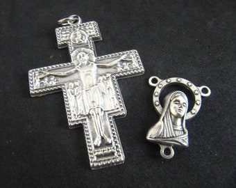 Italian Silver San Damiano Rosary Crucifix and Matching Mary/Jesus Reversible Center