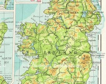 Vintage Ireland Map, counties, atlas map page, Irish Map, educational map decor