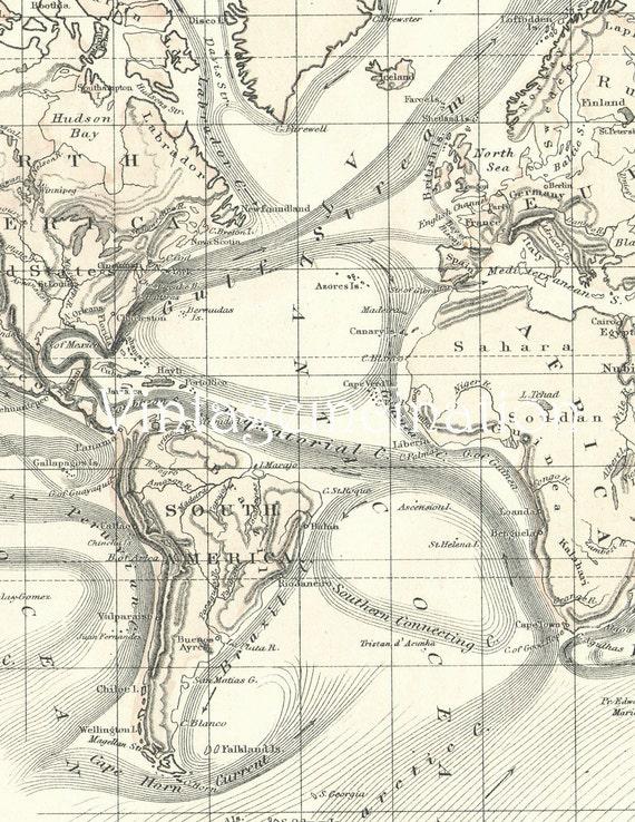 Vintage WORLD MAP 1873 Delightful Pastel Color Antique Map
