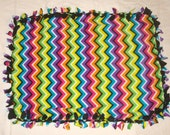 SALE Fleece Tie Pet Blanket for Cats or Small Dogs - Colorful Chevron Zig Zag