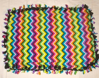 Fleece Tie Pet Blanket for Cats or Small Dogs - Colorful Chevron Zig Zag