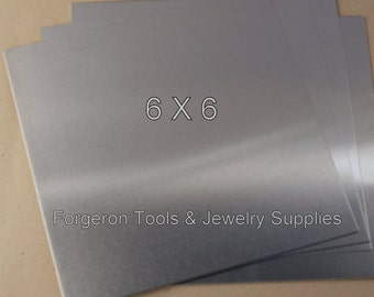 ALUMINUM SHEET 18 Gauge 6 X 6 Inch - 1 Sheet Bright Aluminum For Etching, Jewelry Design, Stamping and More
