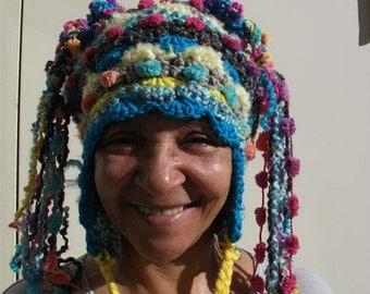 freeform crochet Happy Hat with ear tabs & 2 dramatic flower bursts