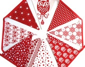 Christmas Bunting - Red OWL Nordic Style Flags  - Owls Xmas hanging, Scandi Party Banner, Parties Decoration Pennant