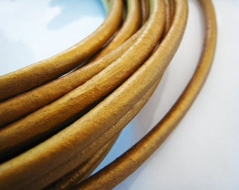 1 Yard of 6mm Antique Metallic Gold Genuine Round Leather Cord