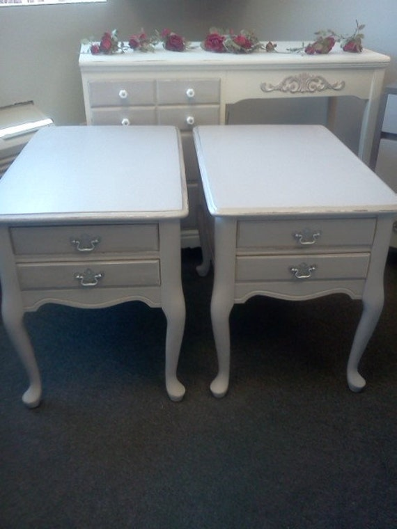 Vintage Shabby Chic Painted  Side Tables