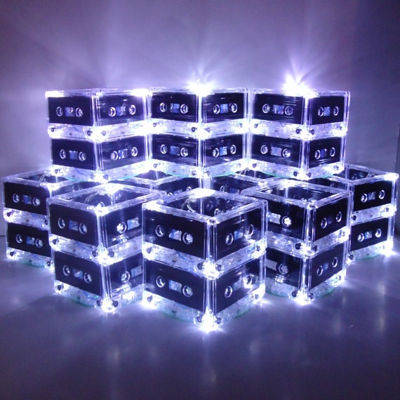 Music themed wedding centerpiece or party table lighted - New Year S Mixtape Cassette Tape Lighted Wedding Table